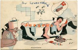 Ilustrated Postcard Art Signed Benz Humor Workers Sleep In Bathtub  Accommodation Alojamiento  Argentina - Humour