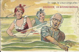 """Carte Fantaisie (Baigneuses) : Souvenir De BLANKENBERGHE """"En Cage, Le Vieux Singe, Allez !"""" - Blankenberge"""