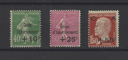FRANCE.  YT   N° 253/255  Neuf *  1929 - Sinking Fund