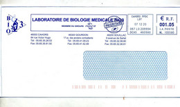 Lettre Flamme Ema Cahors Laboratoire Biologie Theme Microscope - EMA ( Maquina De Huellas A Franquear)