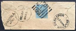 INDIA Victoria 1880`s Small Cover Vingorla, Shahapur And Belgaum Marks - Tied With Half Anna Blue - 1882-1901 Imperio