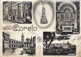 CARTOLINA  SALUTI DA LORETO,ANCONA,MARCHE,STORIA,CULTURA,IMPERO ROMANO,BELLA ITALIA,MEMORIA,RELIGIONE,VIAGGIATA 1958 - Ancona
