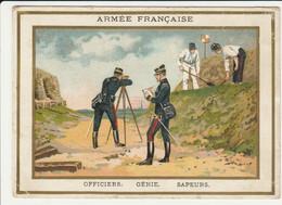 CHROMO CHICORÉE WILLIOT  ARMEE FRANCAISE N°11 OFFICIERS  GENIE   SAPEURS  UNIFORMES SOLDAT   POIX-DU-NORD FARRADESCHE - Andere