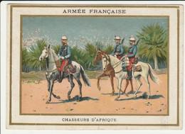 CHROMO CHICORÉE WILLIOT  ARMEE FRANCAISE N°24  CHASSEURS D'AFRIQUE  CHEVAL  UNIFORMES SOLDAT   POIX-DU-NORD FARRADESCHE - Andere