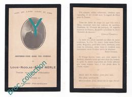 Chalon-sur-Saône, Mémento Louis Nicolas Emile Merle, Mort Pour La France 10/10/1914, Angres Ou Aix-la-Noulette, 21e R.I. - 1914-18