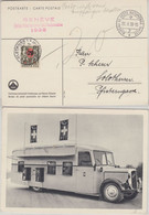 Schweiz - 20 A 50 C Portomarke Genf Int. Automobil-Salon 1938 Karte N. Solothurn - Strafportzegels