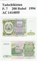Tadschikistan  P. 7  200 Rubel 1994 UNC - Tajikistan