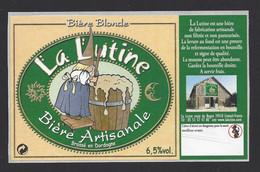 Etiquette De Bière Blonde  -  La Lutine  -  Brasserie La Lutine à Limeuil  (24) - Beer