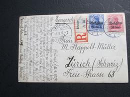 OC 14 & 17 Op Fotokaart, Aangetekend Verstuurd Naar Zürich - [OC1/25] Gen. Gouv.