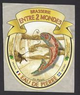 Etiquette De Bière Blonde  -  Eau De Pierre  -  Brasserie Entre 2 Mondes à Mouthier Haute Pierre  (25)  -  Thème Poisson - Beer