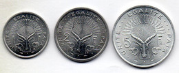 DJIBOUTI, Set Of Three 1, 2, 5 Francs, Aluminum, Year 1977, KM #20, 21, 22 - Djibouti