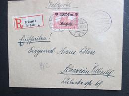 OC 8 - Op Aangetekende Brief Verstuurd Uit Brussel Naar Schwerin Lübeck (ontvangststempel) - Feldpost - [OC1/25] Gen. Gouv.