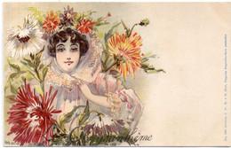 Jack ABEILLE - Femme Art Nouveau - Le Chrysanthème  (6752 ASO) - Andere Zeichner