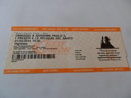 BIGLIETTO INGRESSO  MUSEO CHECCO COSTA IMOLA 2015  OMAGGIO A GIOVANNI PAOLO II - Eintrittskarten