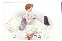 ILLUSTRATEUR  L.VALLET( Edition Lapina)  Femme , Charme ,Chat - Andere Illustrators