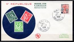 FDC FRANCE 1959 - N° 1216 - Marianne à La Nef - 1950-1959