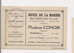 CARTE DE VISITE : HOTEL DE LA MARINE - ISLE SAINT CAST - CONOIR - - Visitenkarten