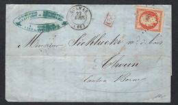 FRANCE 1854 :  LSC De Colmar Pour La Suisse Avec Le Y&T 16, Obl. PC 908 - 1853-1860 Napoléon III