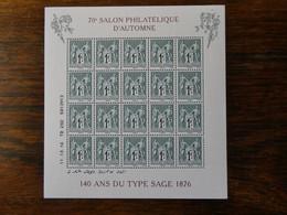 """FRANCE : Bloc  """"SALON PHILATELIQUE D'AUTOMNE- TYPE SAGE """" 2016 Neuf Sans Charnière Superbe - Mint/Hinged"""