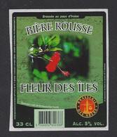 Etiquette De Bière Rousse -   Fleur Des Iles  -  Brasserie   Adam   à Ploudalmezeau  (29) - Beer