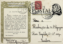 1948 Inteiro Postal Tipo «Conheça Os Seus Prosadores» De 30 C. Enviado De Lamego Para Lisboa - Ganzsachen