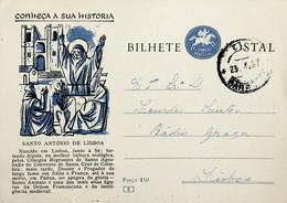 1957 Inteiro Postal Tipo «Conheça A Sua História» De 50 C. Azul E Preto Enviado Do Barreiro Para Lisboa - Ganzsachen