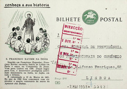 1959 Inteiro Postal Tipo «Conheça A Sua História» De 50 C. Verde E Preto Enviado Do Porto Para Lisboa - Ganzsachen