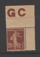 Semeuse Grasse  20c  Brun-rouge Type I Papier GC - 1906-38 Sower - Cameo