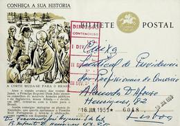 1959 Inteiro Postal Tipo «Conheça A Sua História» De 50 C. Verde Azeitona Enviado Do Porto Para Lisboa - Ganzsachen
