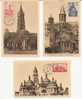 France 1945-47 YT663 à 663 Et YT772 à 776 - Cahédrales - 10 Cartes Premier Jour Au Total - ....-1949
