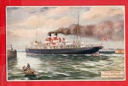 ISLE OF MAN  THE MIDLAND RAILWAY   TURBINE SS MANMAN LEVING HEYSHAM HARBOUR    SHIPPING   P - Isle Of Man