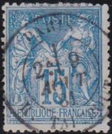 France    .   Y&T    .   90       .    O   .     Oblitéré    .     /   .   Cancelled - 1876-1898 Sage (Type II)