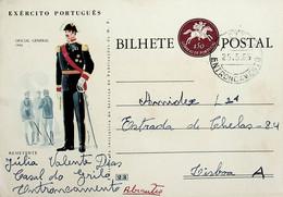 1965 Inteiro Postal Tipo «Fardamentos Do Exército Português» De 50 C. Castanho-lilás Enviado Do Entrocamento Para Lisboa - Ganzsachen