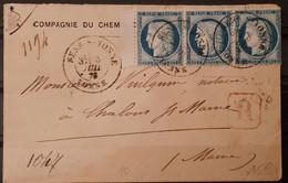 France 1875 N°60C Bande De 3 BdF Sur Lettre Recommandée Ob CaD  TTB - 1871-1875 Ceres