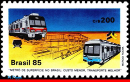 Ref. BR-1972 BRAZIL 1985 RAILWAYS, TRAINS, METROPOLITAN RAILWAYS,, SURFACE SUBWAY, MI# 2093, MNH 1V Sc# 1972 - Trenes