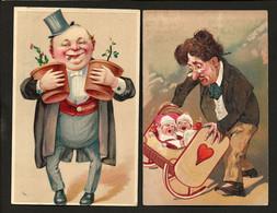 2 X Old Postcards PFB Serie 5677 + HWB 9732: Set Of 2 COMIC Men. Embossed LITHO. Lot GERMANY 1900s - Couples