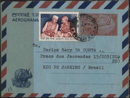 X1893-India-Gandhi /Nehru Stamp In PS Aerogramme From Bombay To Rio, Brazil-1975 - Mahatma Gandhi