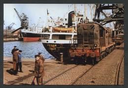 """Photo-carte Moderne """"Ambiance Ferroviaire Sur Le Port De Dunkerque - Années 50 - SNCF"""" - Treinen"""