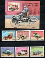 Guinea Guinee Voiture Car Auto, Mnh 1797-1802,Block 524 Opel Renault Stanley BMW Rumpler Duesenberg Ford - Guinée (1958-...)