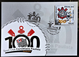 Brazil Maximo Postal Corinthians Soccer Football Postcard 2010 In Fabric 2 Handstamp - Unclassified