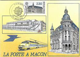 France - Souvenir La Poste à MACON - EUROPA 28 Avril 1990 - Yvert 2642 - Bâtiments Postaux - TGV - - Lettres & Documents