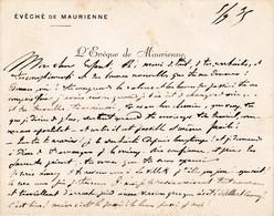 SAVOIE CARTE DE VISITE SIGNEE DE L EVEQUE DE MAURIENNE AUGUSTE GRUMEL 1935 - Autographs