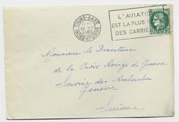 N°375 SEUL LETTRE MEC FLIER L'AVIATION EST LA PLUS BELLE DES CARRIERES TOURS GARE 22.VII.1940 INDRE ET LOIRE POUR SUISSE - Railway Post
