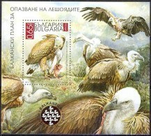 BULGARIA 2010, FAUNA, BIRDS Of PREY, VULTURES, MNH IMPERFORATE BLOCK, GOOD QUALITY,** - Unused Stamps