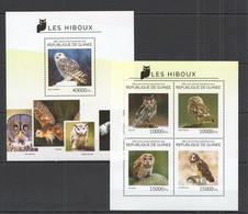 ST700 2014 GUINEE GUINEA FAUNA BIRDS OWLS LES HIBOUX KB+BL MNH - Gufi E Civette
