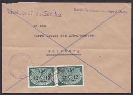 """Generalgouvernement, Mi-Nr. Dienst 4, MeF Mit 2 Werten """"Neu- Sandez"""", über Dt. Dienstpost Osten - Besetzungen 1938-45"""