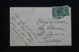 """FRANCE - Oblitération Maritime """" Southampton """" Sur Type Semeuses Sur CP En 1910 Pour Jersey - L 93227 - Correo Marítimo"""