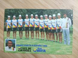 Cyclisme - Carte Publicitaire CAFE DE COLOMBIA VARTA 1986 : Le Groupe VUELTA A ESPANA 1986 - Cycling