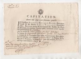 Vieux Papier 1764 Dimension 24,5 Cm X 19 Cm - Non Classificati