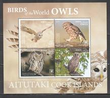NW0405 2019 !!! SALE AITUTAKI FAUNA BIRDS OWLS MICHEL 95 EURO BL119 MNH - Eulenvögel